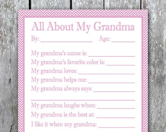 All About My Grandma Printable Kids Valentine Gift For Birthday Last Minute DIY Mom Day Grandmother From