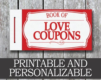 Printable Love Coupon Book Boyfriend Valentine Day Gift Anniversary For Him Last Minute Husband DIY Birthday