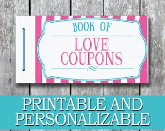 Printable Love Coupon Book DIY Birthday Gift For Her Anniversary Girlfriend Last Minute Wife