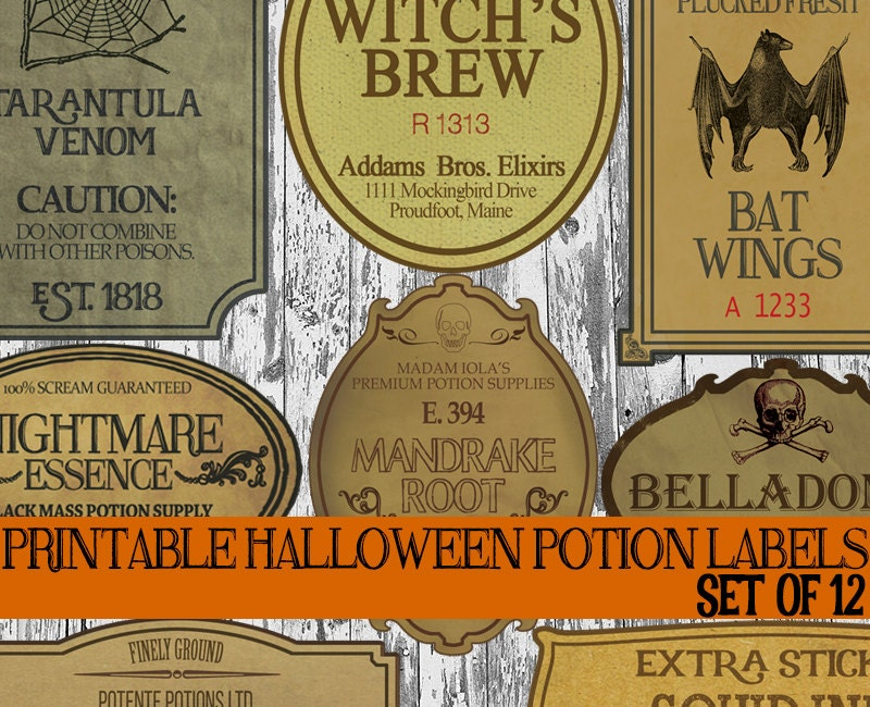 graphic regarding Free Printable Halloween Bottle Labels referred to as Do-it-yourself Halloween Bottle Label Printables, Apothecary Labels, Halloween Potion Labels, Basic Potion Bottle Labels, Witch Spell Decorations