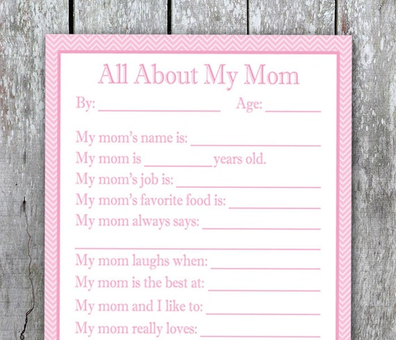 All About My Mom Printable DIY Christmas Gift