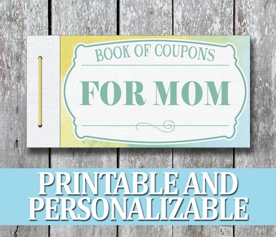 mom printable coupon book printable christmas present diy etsy