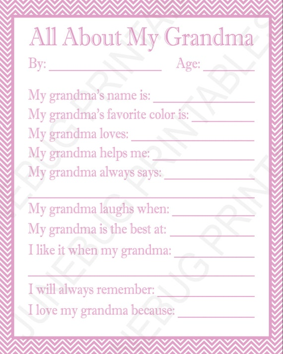 photograph about All About My Grandma Printable named All Around My Grandma Printable, Children Moms Working day Reward for Grandma Birthday, Remaining Instant Present, Do-it-yourself Mother Working day Reward, Grandmother Present versus Little ones