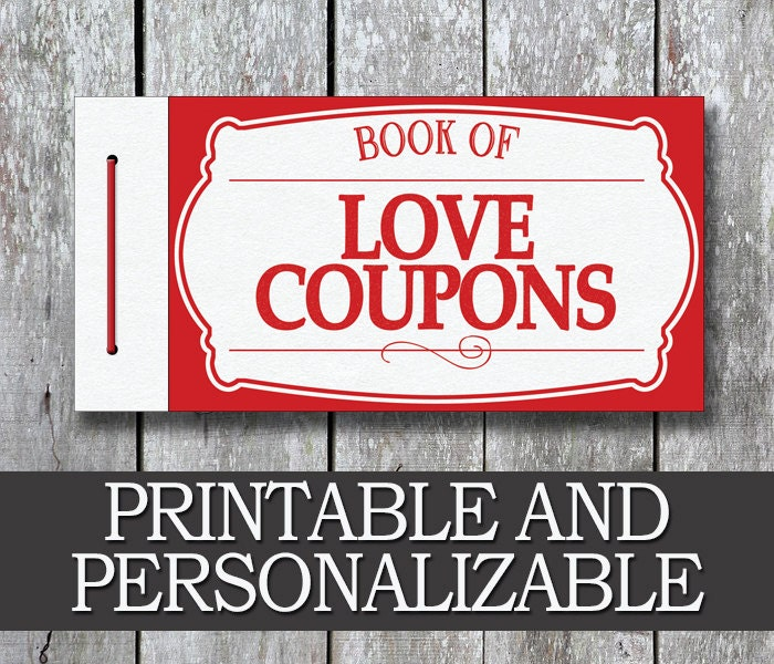 Printable Love Coupon Book Boyfriend Valentine Day Gift