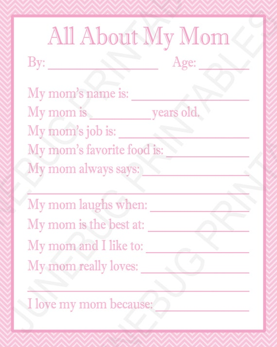photograph relating to All About My Mom Printable named All More than My Mother Printable, Do-it-yourself Moms Working day Present, Printable Reward for Mother, Remaining Second Reward, Mommy Birthday Show Mom Working day Reward in opposition to Small children
