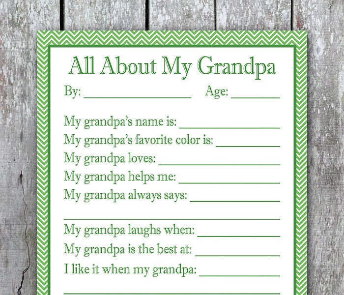 All About My Grandpa Printable Valentine Gift For
