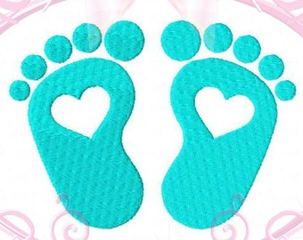 Instant Download Baby Feet with Heart Filled Stitch Machine Embroidery Design, 5 Sizes in, 2in, 3in, 4in 5in, Baby Toes, Baby Footprints