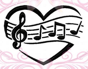 Music Heart Machine Embroidery Design, Music Notes, Music Design, Treble Clef, Music Art, Music Love, Music Staff, 4 Sizes, Instant Download