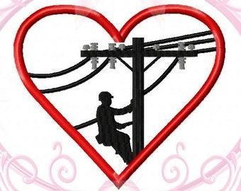 Instant Download Lineman Heart Powerline Machine Applique Embroidery Design 4x4, 5x7, 6x10 Lineman Embroidery, Powerline Embroidery, Heart