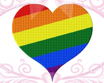Gay Pride Heart Filled Stitch Machine Embroidery Design 4 Sizes 3in, 4in, 5in, 6in, Rainbow Heart, Heart Embroidery, LGBT Design, Love Wins
