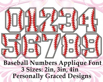 Instant Download Baseball Applique Font Numbers Machine Embroidery Design 2in, 3in, 4in, Softball Font Applique, Sports Embroidery Font