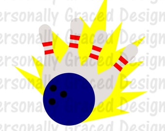 SVG, DXF, EPS Cut file Bowling Pins and Ball svg, Bowling Svg, Bowl, silhouette cut file, cameo file, Instant Download, Bowling Design