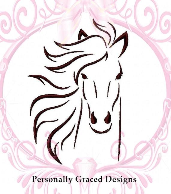 Instant download cavallo faccia macchina ricamo design for Disegno cavallo stilizzato