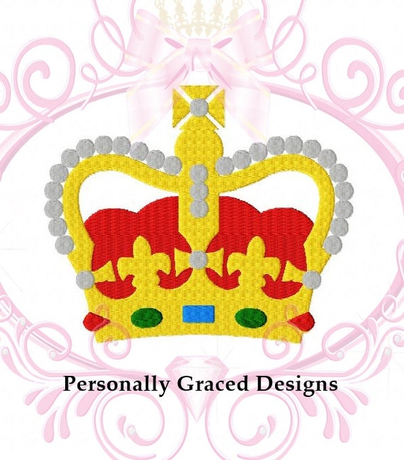 Instant Download King Crown Machine Embroidery Design 4 Sizes Etsy