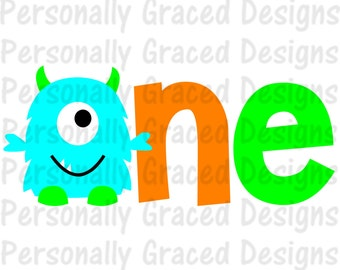 SVG, DXF, EPS Cut file First Birthday Monster one Svg, Birthday svg, silhouette cut file, cameo file, Birthday Monster Design, 1st Birthday