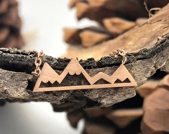 Rose Gold Mountain Necklace, Dainty Mountain Range Necklace, Mountain Jewelry Women, Alpine Necklace, Mountain Pendant, Hiking Necklace