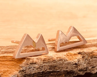 Rose Gold Mountain Studs, Mini Mountain Earrings, Dainty Mountain Studs, Tiny Mountain Earrings, Mountain Jewelry, Hiking Earrings, Skiing