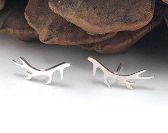 Dainty Antler Studs, Silver Antler Earrings, Elk Studs, Antler Jewelry, Dainty Studs, Gold Antlers
