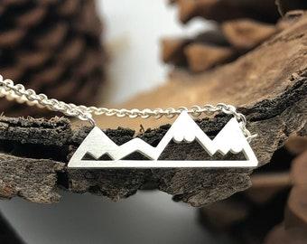 Silver Mountain Necklace, Mini Mountains, Alpine Necklace, Mountain Range Necklace, Hiking Necklace, Mountain Peak Necklace, Silver Necklace