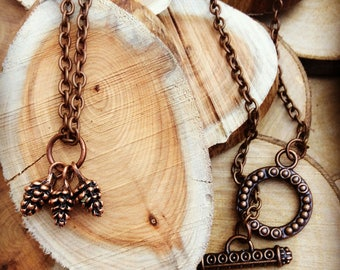 Dainty Pinecone Necklace, Copper Pinecones, Pinecone Cluster, Gift ideas, Girls necklace, Nature Inspired