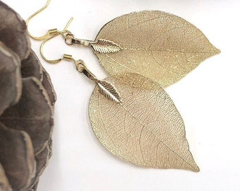 Real Leaf Earrings in Gold, Gold Plated Leaves, Nature Inspired, Natural, Gold Leaf, Gift for Mom, Leaf Jewelry, Gold Leaf Earrings, Real