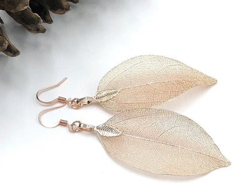 Rose Gold Leaf Earrings, Real Leaf Earrings, Rose Gold Dipped Leaves, Woodland Jewelry, Wedding Jewelry, Bridal Earrings, Gift for Her