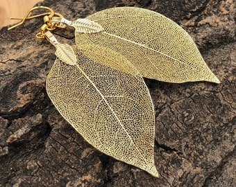 Gold Leaf Earrings, Real Leaf Earrings in Gold, Natural Jewelry, Wedding Jewelry, Gift for Her, Gold Plated Leaf Earrings, Real Gold Leaves