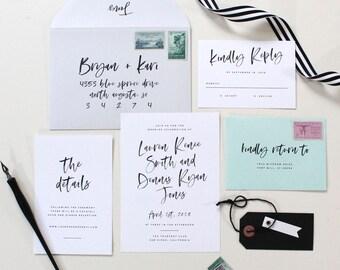 Modern Calligraphy Wedding Invitation - Custom Calligraphy Wedding Invitation