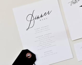 traditional wedding menu card simple wedding menu etsy