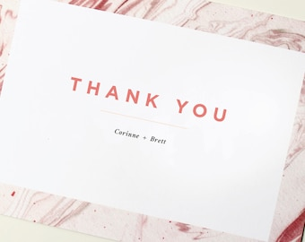 Modern Thank You Cards   Marble Thank You Card, Simple Wedding Thank You, Wedding Thank You, Custom Thank You, Geode Thank You