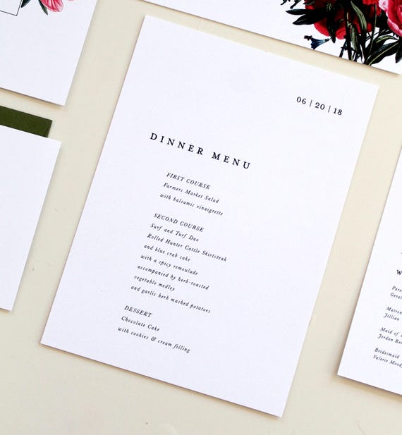 simple modern menu design modern wedding menu serif font etsy