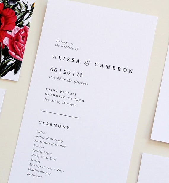 simple wedding program wedding program classic wedding etsy