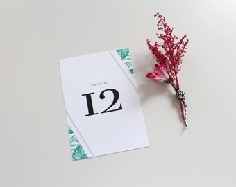 Tropical Wedding Table Numbers | Destination Wedding Table Number, Wedding Table Number, Reception Table Number, Botanical Table Number