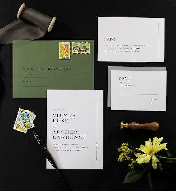 Modern Wedding Invitations Minimal Wedding Invitation Simple Etsy