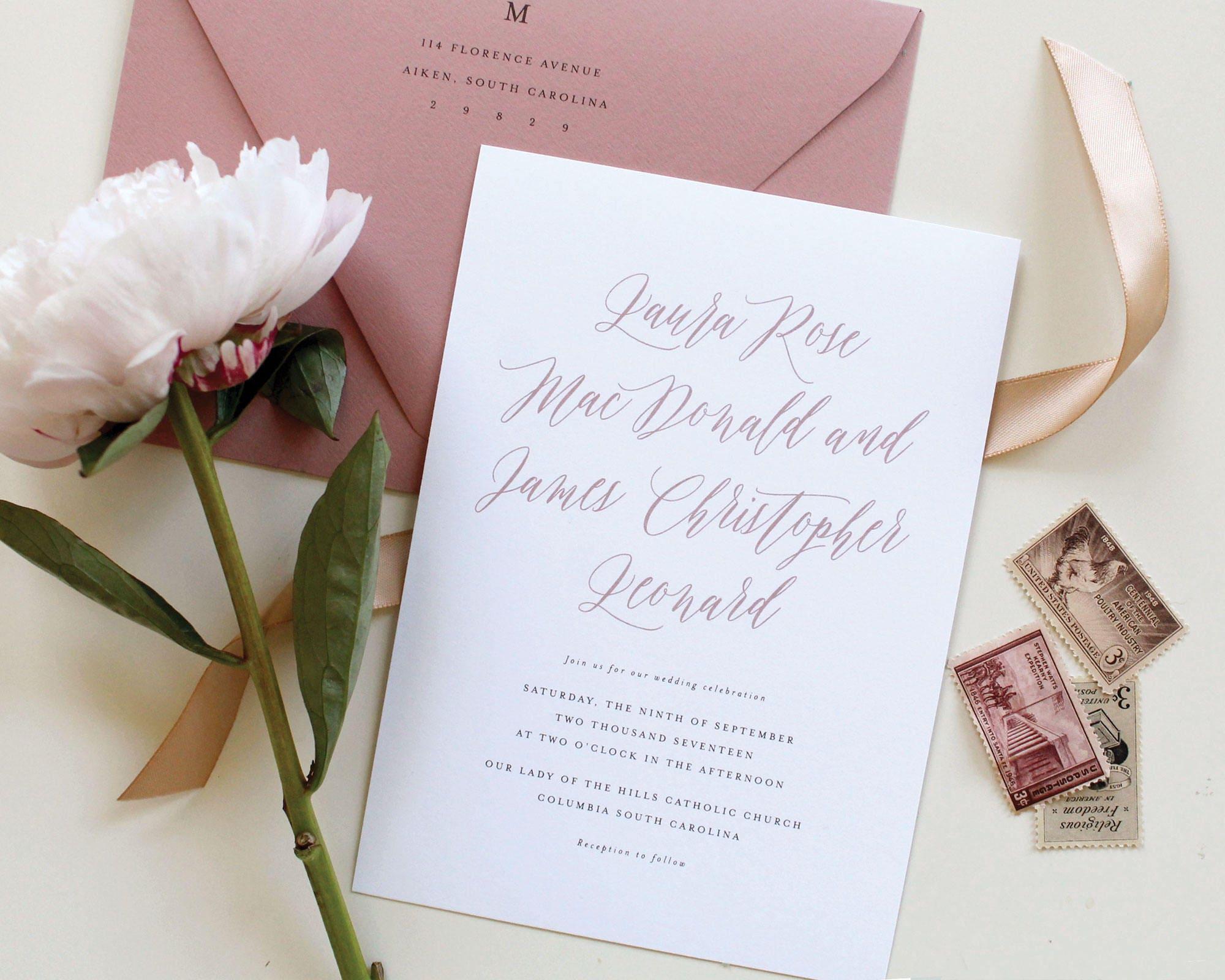 Mauve Wedding Invitations Dusty Rose Wedding Invitation | Etsy