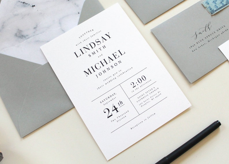 Modern Wedding Invitations Marble Wedding Invitation Simple  d976135ff2