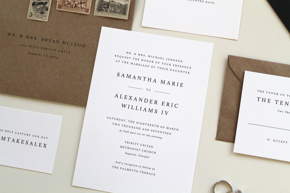 Simple Wedding Invitations Modern Wedding Invitation Design Etsy