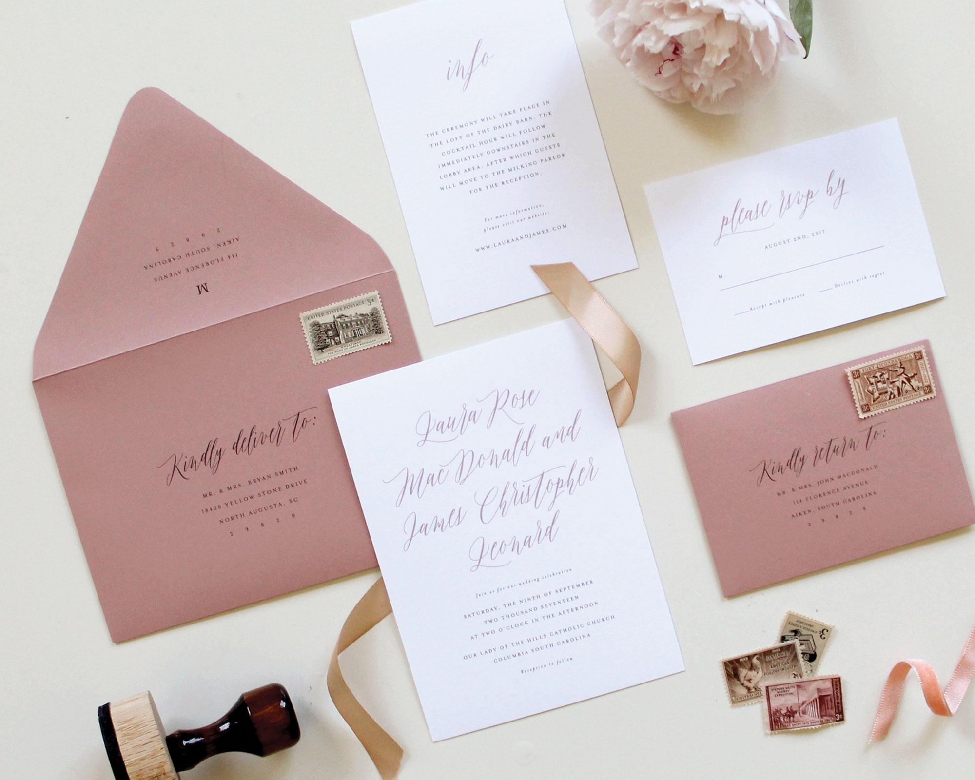 Dusty Rose Wedding Envelope Wedding Envelope Printing Mauve