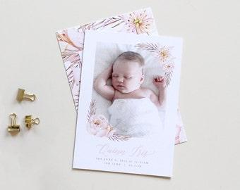 Botanical Birth Announcement | Floral Birth Announcement, Girl Birth Announcement, Photo Birth Announcement, Calligraphy Announcement, Girl