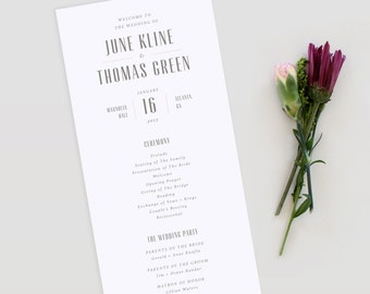 Modern Wedding Program |  Wedding Program, Simple Wedding Program, Simple Modern Wedding Program, Printable template PDF, Modern Program