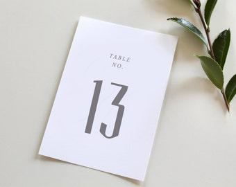 Simple Modern Table Numbers, wedding table number, modern table numbers, Serif table number, grey table number, simple table numbers