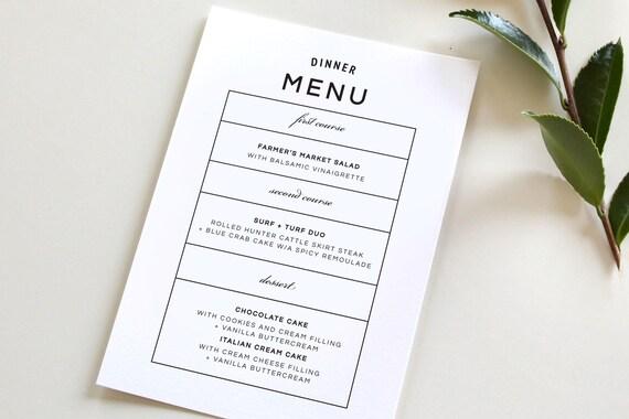 modern wedding menu simple wedding menu simple dinner menu etsy