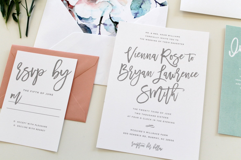 Calligraphy Wedding Invitations: Modern Calligraphy Wedding Invitation Calligraphy Wedding