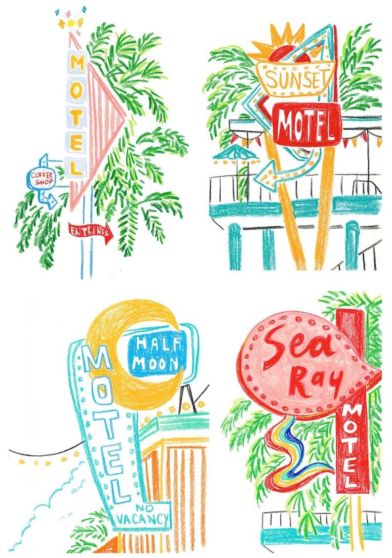 Aesthetic cute drawing Art Inspo Image Cellcodeus Motel Illustration Art Prints Set Of A5 Motel Drawings Etsy
