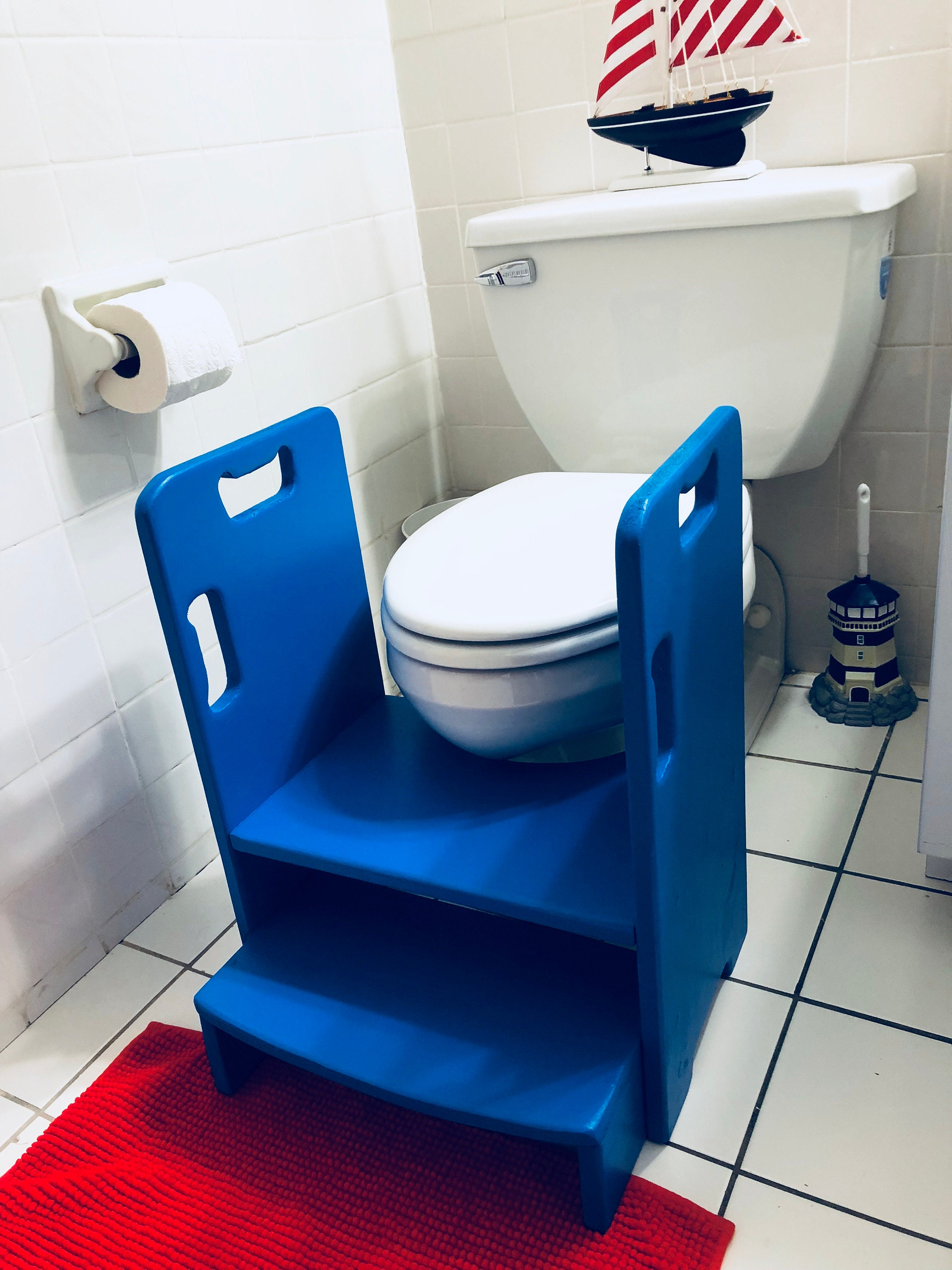 Get Up And Go Potty Helper Two Step Stool Has 4 Handles