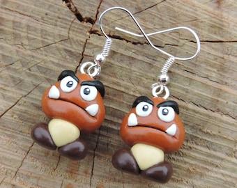 Goomba earrings wicked mushrooms (fimo) Mario geek