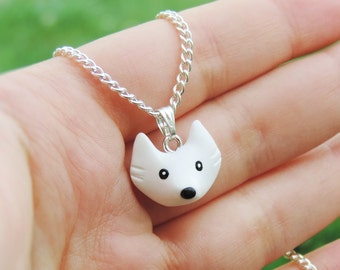 Necklace chain (fimo) polymer clay White Wolf Cub little Christmas gift wolf head little girl fun charm bracelet