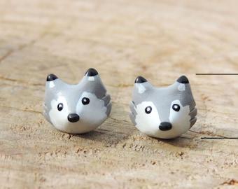 Stud Earrings / Stud mini Grey Wolf (fimo) head little gift wolf cub original Christmas little girl charm bracelet