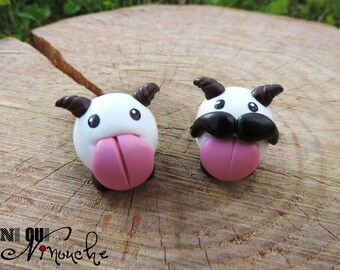 Figurine poro with or without a moustache (fimo) geek LoL League of Legends