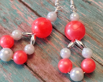 Pears For You, Combined With Beautlful Orange Beads, Various Sizes, Dropped Circle Earrings